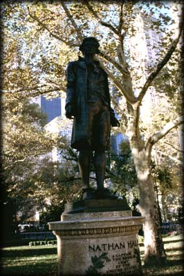 Photo of the Nathan Hale Statue in City Hall Park, Manhattan
