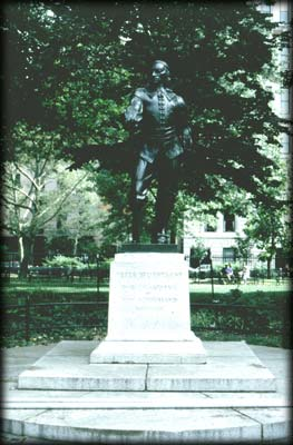 Photo of a statue of Peter Stuyvesant in Stuyvesant Square, Manhattan
