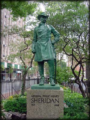 Photo of statue of General Philip Henry Sheridan in Christopher Park, Manhattan