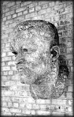 Photo of a bust of Jackie Robinson
