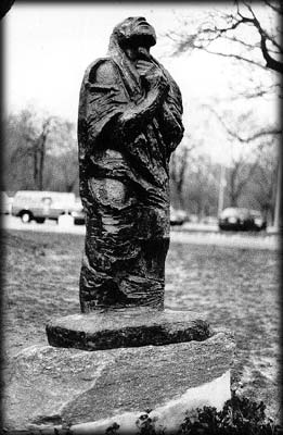Photo of a statue of Job in Forest Park, Queens