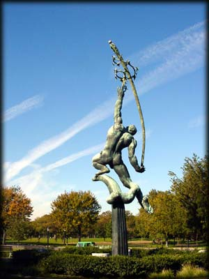 Photo of the Rocket Thrower statue, Flushing Meadows-Corona Park, Queens