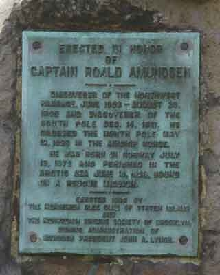 Photo of Roald Amundsen Plaza plaque