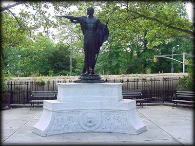 Photo of the Clarence T. Barrett Memorial in Major Barrett Triangle, Staten Island