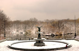 Bethesda Fountain in Central Park after a March snow storm
