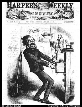 Harper's Weekly cover showing Interior Secretary Carl Schurz bedeviled by corruption within the files of his department