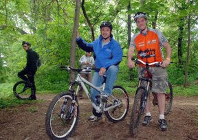 Commissioner Benepe & NYCMTB President JamieBogner take a test ride on the new Mountain Biking Trail at Highbridge Park