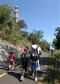 People walking on High Bridge access path