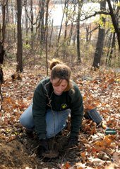 A Parks horticulturalist helps reforest Highbridge Park as part of MillionTreesNYC.