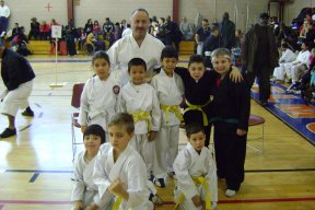 Martial Arts Hall of Fame member Hiram Diaz with his students.