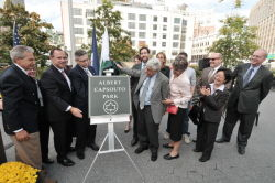 Commissioner Benepe joined elected and community officials to rename a Tribeca Park in honor of local activist Albert Capsouto.