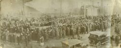 In this 1919 photo, crowds gathered near the first Van Nest Memorial.