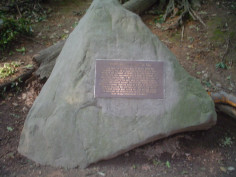 Plaque mounted on boulder