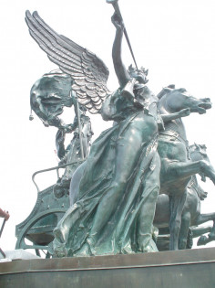 Quadriga and three female figures (heroic scale)
