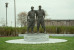 Over lifesize portrait sculpture of two baseball heroes