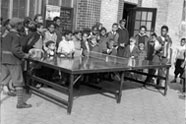 Children play ping-pong in 1945 in Mount Morris Park, renamed Marcus Garvey Park in 1973.