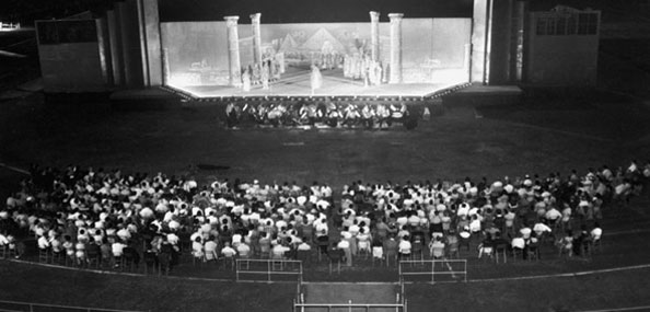 An audience soaks in a 1955 performance of Aida at Downing Stadium on Randall?s Island.