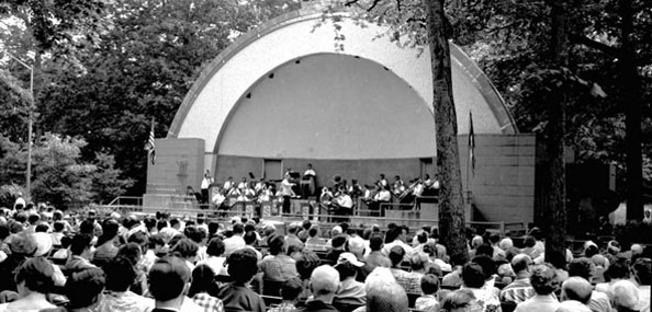 The George Seuffert Band performs at the Forest Park bandshell (now named the George Seuffert, Sr. Bandshell) on June 26, 1966. Neg. 53194.8.