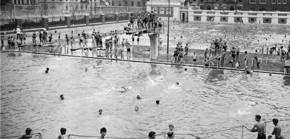 Image of Bathers at the Hamilton Fish Pool on August 19, 1936, less than two months after it opened. Neg. 10832.