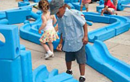 Kids at play in the Imagination Playground at the World's Fair
