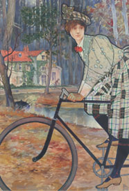 E.N. Blue (1852–1926), Woman on bicycle, Estate of Margaret Blue Wallace, Courtesy of the Museum of American Illustration
