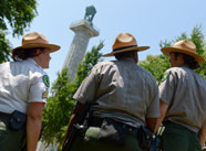 Three Urban Park Rangers in Fort Greene Park