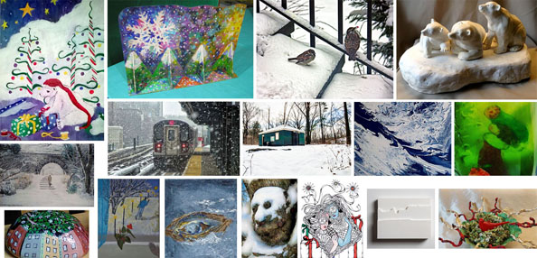 a collage of various winter scenery