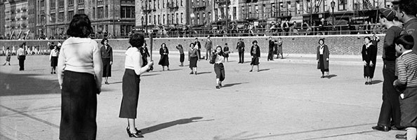 Girls' softball team in Sara D. Roosevelt Playground, 1935