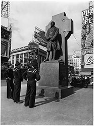 Three Sailors at Father Duffy Monument, Duffy Square, Manhattan, October 12, 1941, Rodney McCay Morgan/NYC Parks Photo Archive
