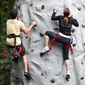 People climbing a rock wall