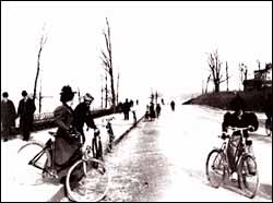 Photo of Bicycle Riders on Riverside Drive, ca. 1898