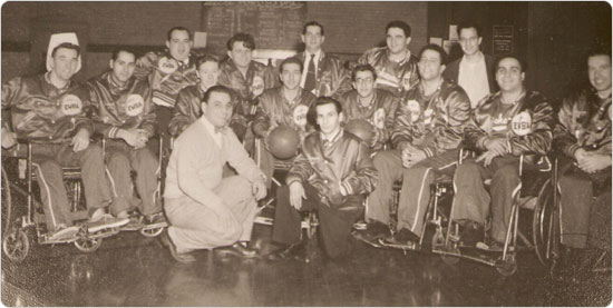 1950s wheelchair basketball team at a Parks facility.