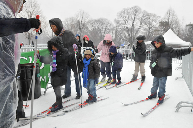 Guests prepare to learn how to crosscountry ski.
