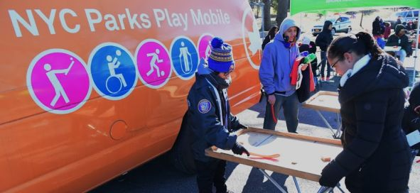 Children enjoy games from the NYC Parks Play Mobile