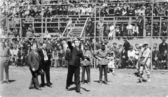 Image of The first pitch is thrown at the May 26, 1935 opening of Mosholu Ballfield.