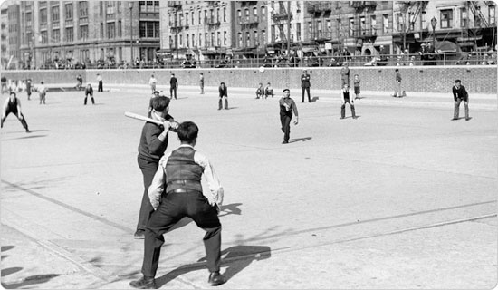 Image of A boys´ team plays softball in Sara D. Roosevelt Park, May 1, 1936. Neg. 1389.1
