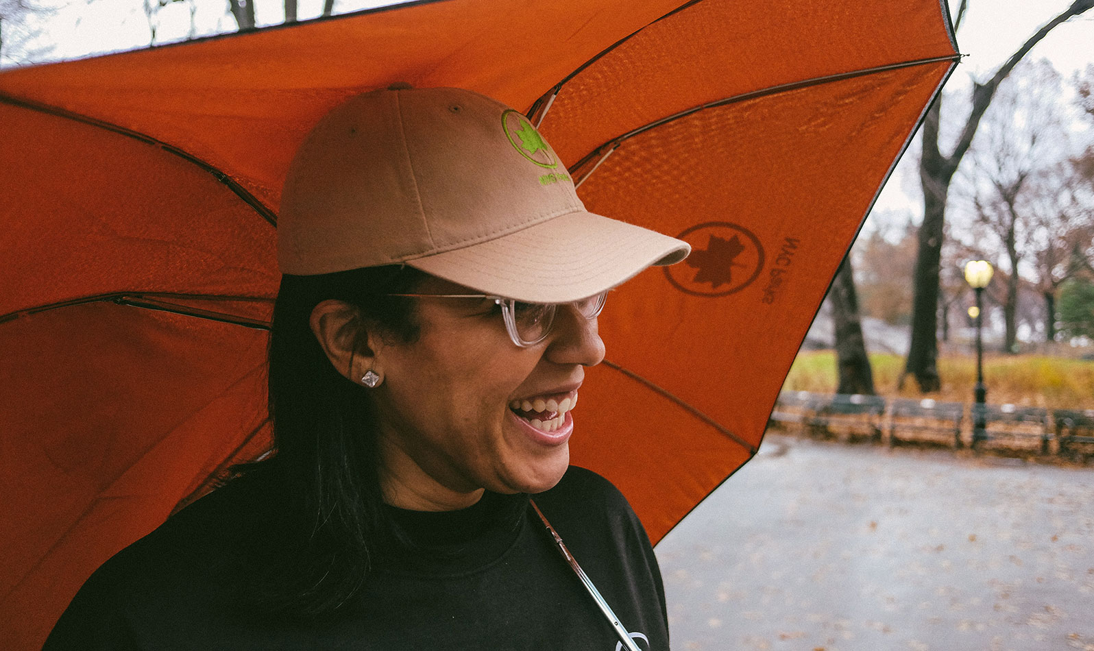 Orange NYC Parks Collapsible Umbrella - $15