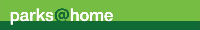 Parks@Home Banner. The words parks at home in white are placed on a green background