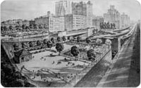 Rendering of Brooklyn Promenade, Brooklyn Queens Expressway, Middagh and Squibb Playgrounds, April 4, 1952, New York City Parks & Recreation Map File