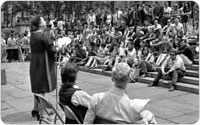 <em>Bryant Park, Poetry Reading at Season?s Opening</em>, 1969, New York City Parks Photo Archive