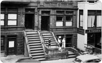 Exterior of Lincoln Square Tenements, circa 1956, New York City Parks Photo Archive