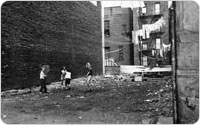 Lincoln Square Tenements, Children Playing in Empty Lot, circa 1956, New York City Parks Photo Archive