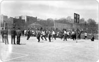 Basketball contest in Lincoln Terrace Park, 1943, New York City Parks Photo Archive