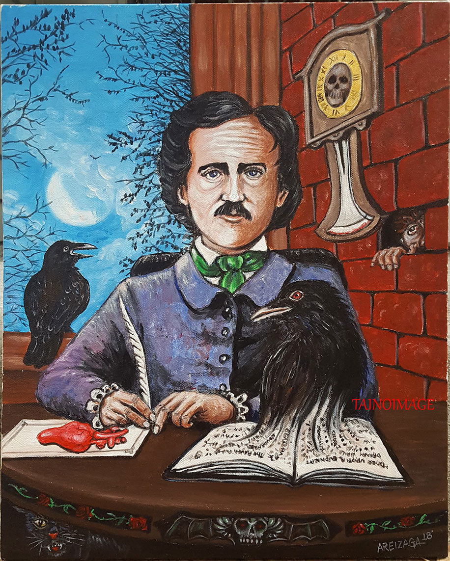 Acrylic drawing of Edgar Allan Poe holding a feather for writing next to a heart placed on a try. A raven begins to rise out of a book in the paper. Another raven is perched behind Poe and looking out to the moonlight between the trees; a clock on the wall features a skull in the middle; someone is peeping through a whole in the wall; their hands grabbing unto the opening where a brick was