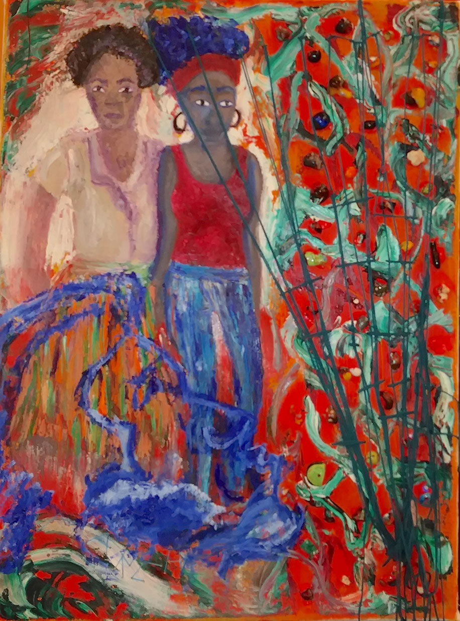 Two women of color stand together as the enter a space filled with swirls and patterns in colors of blue, red, and green