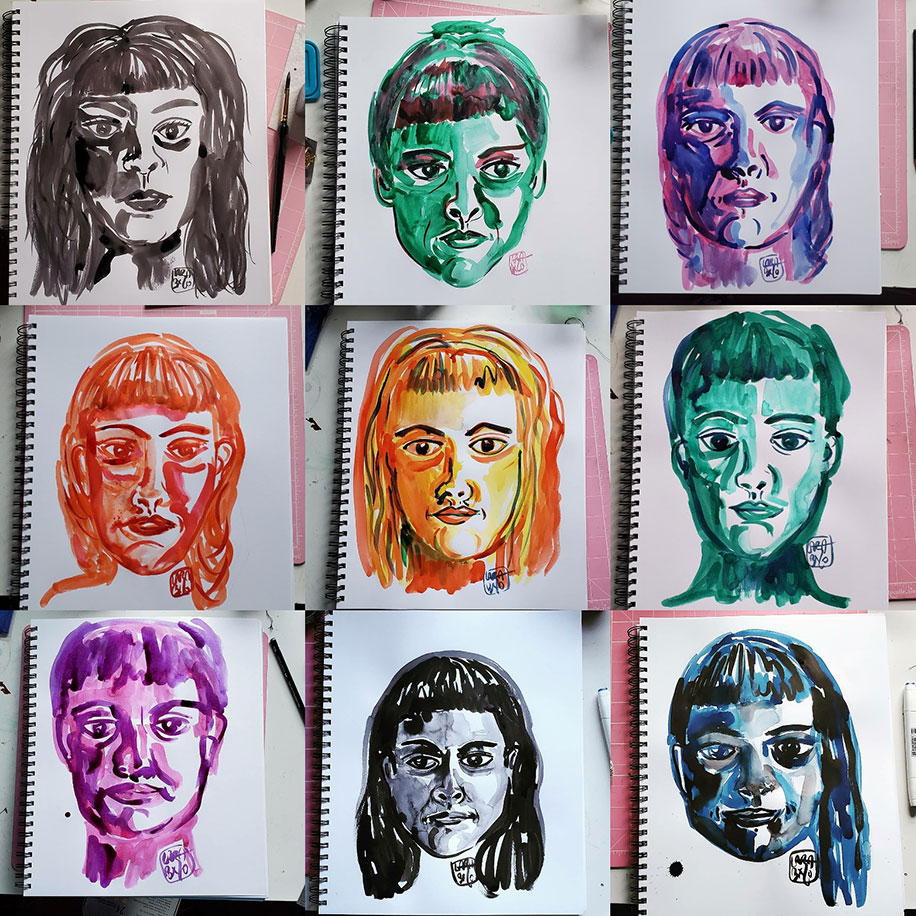 Nine images of the drawings of the artist's face in a paper drawing pad. The drawings are arranged as three in each row for three rows. Each face is drawn in a singular ink color with ranging hairstyles than includes bangs. Each face is drawn on its own page to reflect the artist's mood for that day. From left to right, row one, image one: the drawings are black with dark shadows and hair down and volumous while the eyes look straight ahead; image two: green with hair up and eyes looking away to your right,; image three: purple and blue with hair down, flat and tucked behind the ears with eyes looking straight ahead; row two, image one:  reddish-orange, hair down, eyes looking slightly to the your right and lips parted; image two: orangish-yellow, eyes slightly looking away and a small smile; image three: green with hair pulled back and eyes looking down; row three, image one: purple, face appears puffy, eyes out of focus, and hair pulled back; image two: black, hair down and tucked behind the ears while eyes look away to your left; image three: blue-back with hair pulled to the side and over the shoulder, face appears puffy with dark circles