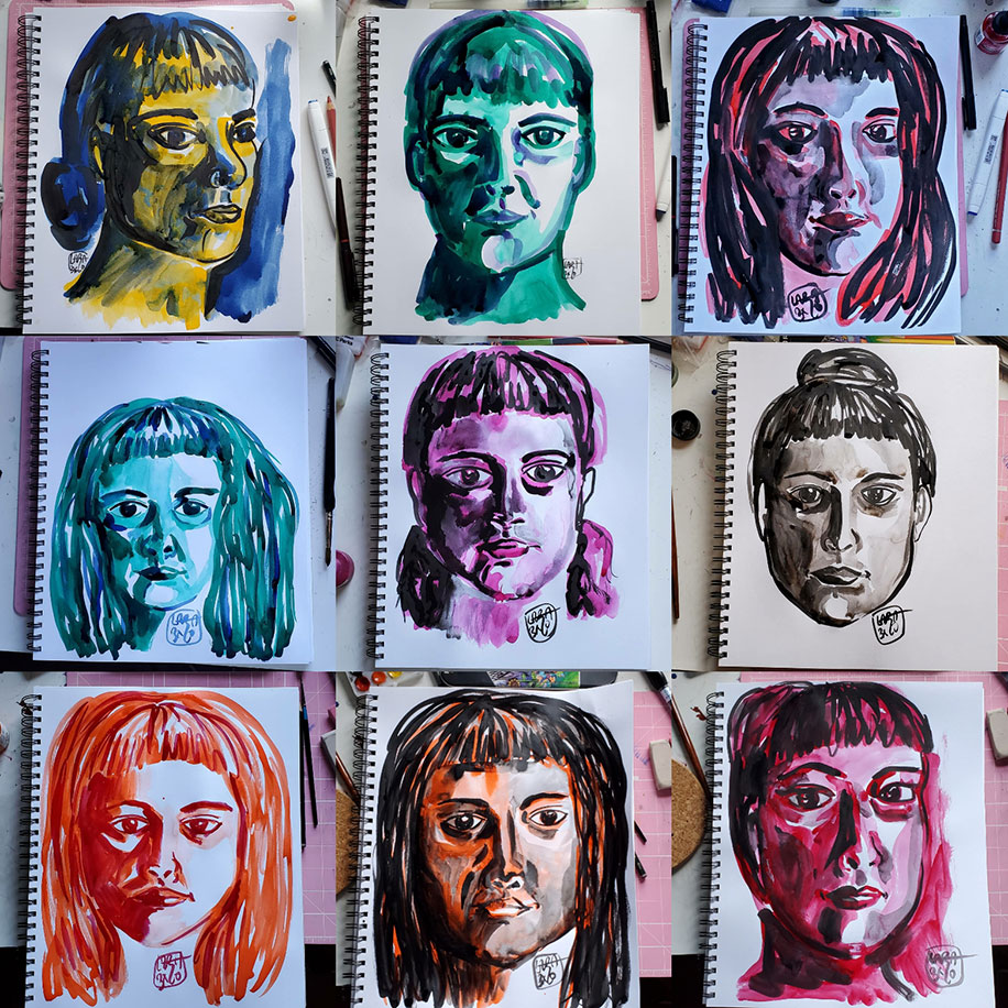 Nine images of the drawings of the artist's face in a  paper drawing pad. The drawings are arranged as three in each row for three rows. Each face is drawn in a singular cink olor with ranging hairstyles than includes bangs. Each face is drawn on its own page to reflect the artist's mood for that day. From left to right, row one, image one: the face is yellow and turned slightly looking to your right, the hair is blue and tucked in a low bun; image two: green, eyes look slightly away to your right, hair is pulled back; image three: red, hair is down around the ears and face is slightly turned to your light with eyes looking straight ahead; row two, image one: blue-green, image takes up less of the page, hair is down and eyes look away to your left; purple, shadows under the eyes looking slighty off to yyour right, hair is tucked back and flat; image three: black, hair in a bun, eyes look straight ahead; row three, image one: orange, hair is down and eyes look intensely ahead but towards the floor; image two: orange and black, deep lines and shadows, eyes look away to your right; image three: pink, head tilted up, eyes look ahead