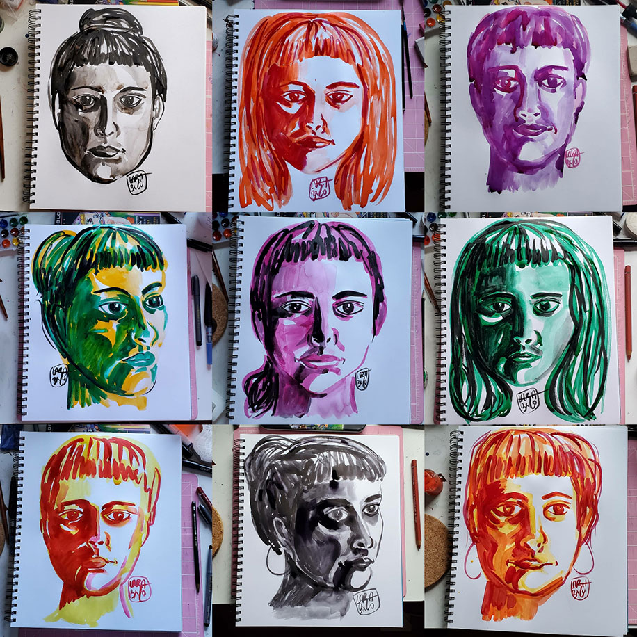 Nine images of the drawings of the artist's face in a  paper drawing pad. The drawings are arranged as three in each row for three rows. Each face is drawn in a singular cink olor with ranging hairstyles than includes bangs. Each face is drawn on its own page to reflect the artist's mood for that day. From left to right, row one, image one: black, hair in bun, eyes straigh forward; image two: orange, hair down, eyes straight forward; image three: purple, hair up and eyes straight forward; row two, image one: green and yellow, face turned to yyour right and hair in a bun; image two: purple, hair in ponytail and eyes straight forward; image three: green, hair down and eyes straight forward; row three, image one: orange and yellow, hair in a bun, and eyes forward; black, hair in a bun, head tuned to the right and the artist is wearing hoop earrings; image three: orange, face forward, a sligh smile and the artist is wearing hoop earings