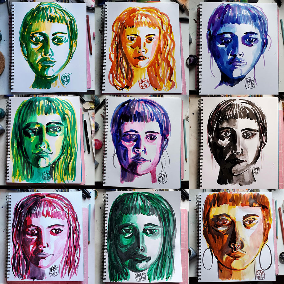 Nine images of the drawings of the artist's face in a  paper drawing pad. The drawings are arranged as three in each row for three rows. Each face is drawn in a singular cink olor with ranging hairstyles than includes bangs. Each face is drawn on its own page to reflect the artist's mood for that day. From left to right, row one, image one: green and yellow, hair up and eyes forward; image two: orange-yellow, hair in waves, eyes forward; image three: blue, hair in bun, heavy strokes under the eyes; row two, image one: yellow and green, eyes slightly facing to yyour right, pursed lips, hair down; image two: purple, hair up, eyes look down to your right; image three: black, hair up, dark lines and shadows around the eyes; row three, image one: pink, hair down, eyes averted to yyour right, pursed lips; image two: green, hair down, sad eyes looking away to your right; image three: orange and brown, hair up, hoop earrings on
