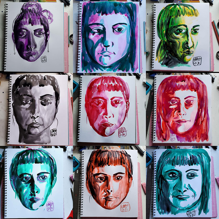 Nine images of the drawings of the artist's face in a paper drawing pad. The drawings are arranged as three in each row for three rows. Each face is drawn in a singular cink olor with ranging hairstyles than includes bangs. Each face is drawn on its own page to reflect the artist's mood for that day. From left to right, row one, image one: purple, hair up, long earrings on, eyes straight ahead, dark shadows around the eyes and nose; image two: purple and blue, eyes looking away to your right; image three: green and yellow, face turned to your right and eyes looking ahead towards the left; row two, image one: black, hair up, eyes looking away, lips pursed; image two: red and pink, eyes looking straight ahead, hair up; image three: pink and red, lips pursed, hair down, eyes looking ahead; row three, image one: green, eyes looking off to your right, hair in a bun; image two: orange, eyes slightly looking away, hair up; image three: green, a smile, eyes looking away to the right
